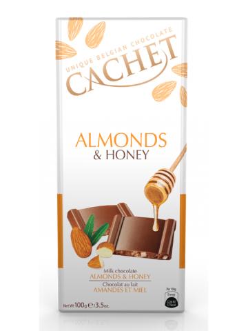 Czekolada Cachet Milk Almonds Honey 100g